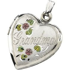 Sterling Silver TriColor Grandma Heart Locket  34 Inch wide  JewelryWeb *** Check out the image by visiting the link.