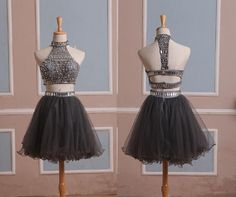 short grey prom dress, beaded crystals party dresses, 2015 Tulle Cocktail Dresses, sexy homecoming dresses, dresses for prom