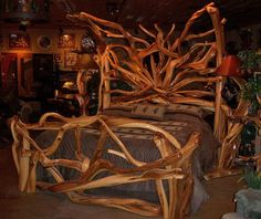 Beautiful juniper logs are handcrafted into an incredible rustic log bed for cabin and lodge decors. Custom made - unique log furniture is our specialty. Rustic Bedroom Sets, Rustic Bedroom Furniture, Rustic Bedding, Wood Bedroom, Bedroom Decor, Lodge Furniture, Real Wood Furniture, Cheap Furniture, Willow Furniture