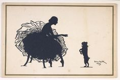 §§§ . Christmas card sent by Anna Pavlova. The design, made by Baroness Eveline Von Maydell, is a silhouette of Pavlova in her ballet costume with a dog in a ruff on hind legs before her. The card is signed and dated New York 1923. Inside Pavlova has written in ink 'With my warmest Christmas and New Year greeting, Anna Pavlova'.