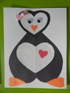 brico st Valentin Diy Crafts For Kids, Art For Kids, Arts And Crafts, Valentine Day Crafts, Valentines, Decoration St Valentin, Penguin Love, Bird Theme, Christmas Star