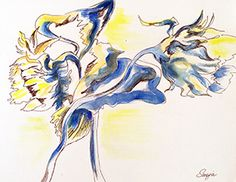 "Art by Snejana Videlova, Sunflowers pen-and-ink on archival paper, 9""x12"", $145"