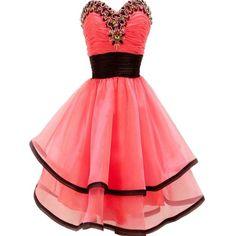 VILAVI A-line Sweetheart Short Organza Crystal Tiered Graduation Dresses