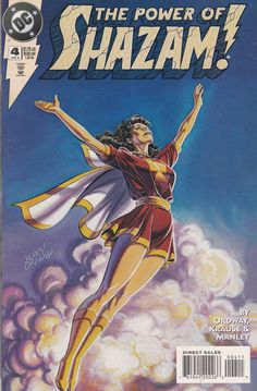 The Power of Shazam! Billy Batson's search for his missing sister comes to an end as his sister Mary and Tawky Tawny are reintroduced to the DC Universe! And the true essence of the power of Shazam is explored. Dc Comic Books, Comic Book Covers, Comic Book Characters, Comic Art, Female Characters, Dr Fate, Captain Marvel Shazam, Death Of Superman, Fantasy Comics