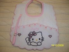 Click for a larger view Hobbies And Crafts, Diy And Crafts, Hello Kitty, Cross Stitch Designs, Baby Bibs, Mickey Mouse, Baby Shower, Embroidery, Kids