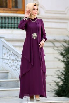 Nayla Collection - Plum Color Hijab Dress 52546MU