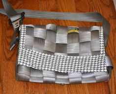 Silver Houndstooth Seatbelt Messenger Bag by 21CannonSalute, $40.00