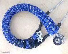 blue Stethoscope cover by handmadefuzzy, $15.25 USD