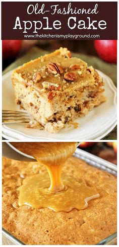 Old-Fashioned Apple Cake Loaded with fresh apples iced with boiled caramel topping & studded with crunchy pecans this is one stunningly delicious apple dessert. Baked Apple Dessert, Apple Dessert Recipes, Fall Desserts, Apple Recipes, Just Desserts, Delicious Desserts, Old Fashioned Apple Cake Recipe, Homemade Cakes, Cupcake Cakes