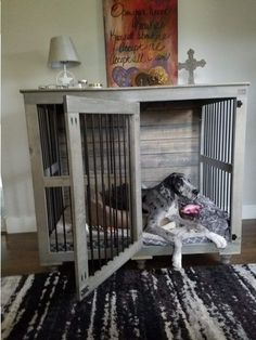 Dogs Finally a piece of dog furniture that fits your Great Dane! - Finally there is a beautiful indoor dog kennel for great danes and other large dogs! Say goodbye to the ugly plastic dog crates and hello to the Great Dane Doggie Den! Big Dogs, Large Dogs, Extra Large Dog Kennel, Giant Dogs, Small Dogs, Cheap Dog Houses, Plastic Dog Crates, Dog Crate Furniture, Furniture Dog Kennel
