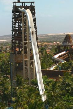 """El Insano"" measures 135feet, a water slide with a rapid descent reaching speeds of 105 km/h. In Porto das Dunas Beach in Fortaleza, Brazil"