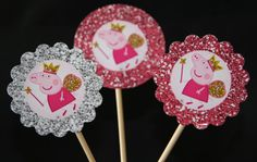 Peppa Pig cupcake toppers Princess Peppa by ClaudiaParkerDesigns