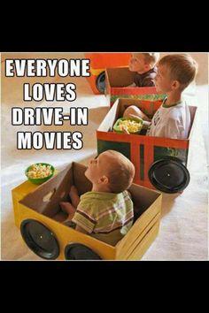 Drive in movie night - box & plastic plates.