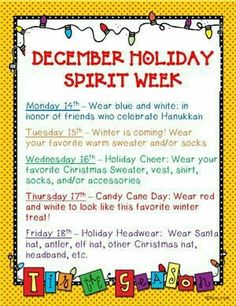 image result for holiday spirit week ideas christmas 25 days of christmas spirit service and fun - What Day Of The Week Is Christmas On