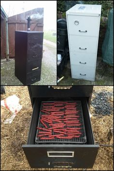 Do you have an old filing cabinet merely gathering dust in your house? You can repurpose it as a novel smoker!  http://theownerbuildernetwork.co/easy-diy-projects/diy-outdoor-space-projects/turn-a-filling-cabinet-into-a-smoker/  Yes – filing cabinet paints can contain some dangerous chemicals, but there are lots of ways to strip that paint and there spray paints for grills that you can use to make your DIY smoker safe.  Learn how to turn an old metal filing cabinet into a smoker now!