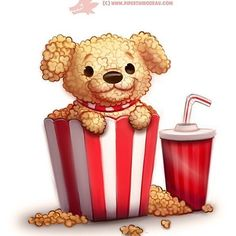 Daily Paint 1287. Pupcorn #cute #art #photoshop