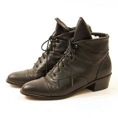 90s Black Leather Lace Up Ankle Boots with Cuff / by nickiefrye, $48.00