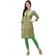 Kurtis - Buy Designer Kurti Online For Women Off - IndiaRush Girls Kurti, Ethnic Kurti, Daily Dress, Green Print, Green Cotton, Absolutely Gorgeous, Indian, Sweaters, How To Wear