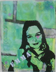 Tutorial. Mixed media paintings. 4th graders