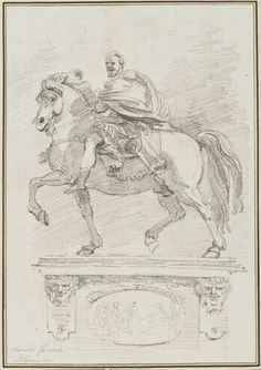 Jean-Honoré Fragonard (French, 1732-1806) - Study after Francesco Mochi: Equestrian Statue of Alessandro Farnese (from the Piazza dei Cavalli, Piacenza), 1760-61 - Black chalk on paper - The Norton Simon Foundation [After five years of study in Rome, the twenty-eight-year-old Fragonard began a journey throughout Italy with Jean-Claude Richard, the Abbé de Saint-Non. The abbott commissioned the artist to make copies of the masters in each city they visited]