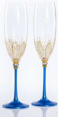Gold Blue Wedding Glasses Champagne Glasses Champagne Flutes