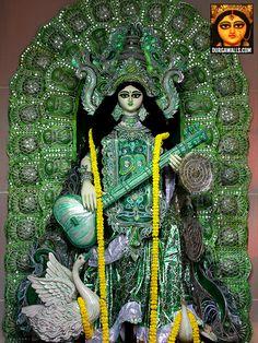 Few pictures of Saraswati Puja and Basant Panchami celebrations in kolkata. Saraswati Statue, Saraswati Goddess, Kali Goddess, Durga Maa, Mother Goddess, Saraswati Mata, Durga Picture, Kali Hindu, Navratri Special