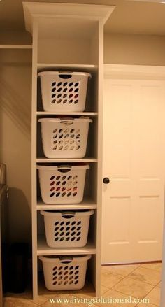 Laundry room - individualized basket pantry