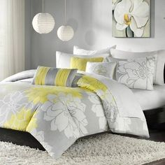 Grey and Yellow Bedding
