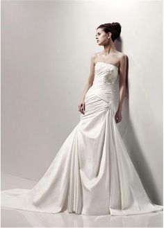 LUXURIANT TAFFETA APPLIQUE RUCHED STRAPLESS WEDDING DRESS LACE BRIDESMAID PARTY COCKTAIL EVENING GOWN IVORY WHITE FORMAL