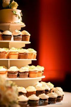 Wedding cupcake tier.  White, green and yellow.