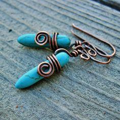 Antiqued Copper Wire Wrapped Magnesite Dagger by BearRunOriginals,