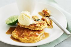 Banana buttermilk hotcakes with kaffir lime syrup. #breakfast #pancakes #citrus