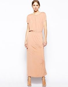 Image 1 ofSelected Moon Maxi Dress with Gathered Shoulder Detail