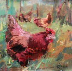 This charmed me! #Little #Red #Hen, #painting by artist Mary Maxam