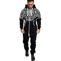 a8b5fe06c2ec0 GrenouillèRes Hommes Sexy Long Combinaison Capuche Pyjama Jumpsuit  Ensembles Salopette Imprimer Zip Pantalon De Sports Muscle Zipper   vêtements ...