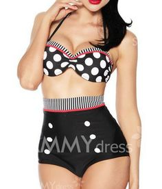 $9.61 Polka Dot Double-Breasted Spandex Sexy Halter Swimsuit For Women