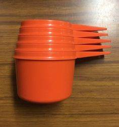 Vintage Tupperware Set of 5 Measuring Cups, Orange Retro Kitchen 70 s Prop 1970 | eBay