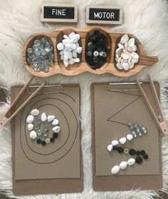 A fine motor pattern making activity involving natural loose parts 🐚 Fine motor strengthens children's fingers and hands in preparation… Fine Motor Activities For Kids, Motor Skills Activities, Montessori Activities, Preschool Activities, Toddler Learning, Preschool Learning, Early Learning, Learning Activities, Teaching