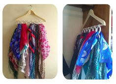 How to make simple scarf storage ~ Crazzy Craft Scarf Storage, Put On, Wardrobe Rack, Clothes Hanger, Make It Simple, Sewing, Closets, Organizing, Tips