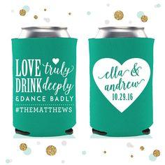Love Truly Wedding Can Cooler 54 Custom Bridal Wedding