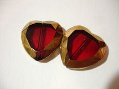 """2 Pieces Sweet Red with Gold Edging Glass Heart Shaped Faceted Beads - start bid in the Tophatter.com """"Supplies with a Surprise"""" LIVE auction. Join us for nightowl fun with realtime bidding! http://tophatter.com/auctions/14952"""