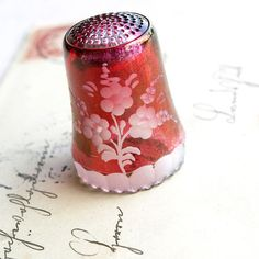 Antique Red Bohemian Glass Thimble from German; 1800's