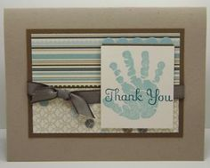 handmade thank-you card ... for baby boy baby shower ... kraft base with chocolate, vanilla and baby blue ... THANK YOU stamped over stamped baby hand ... clean and simple ... perfect for lots of thank-you cards ...