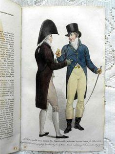 Two gentlemen 1806 le beau monde Rococo Fashion, 1800s Fashion, Gents Fashion, 19th Century Fashion, 1800s Dresses, Costume Français, English Gentleman, Regency Era, Period Costumes