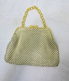 Ivory Enameled Mesh Purse with Celluloid by heydarlin on Etsy, $45.00