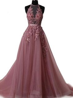 A-line Halter Lace Appliqued See-through Long Prom Dresses APD3049