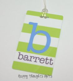 Personalized Bag Tag  Monogram Bag Tag  by happythoughtsgifts, $15.00