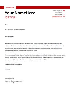 free clean and simple cover letter template for word docx red - Simple Resume Cover Letter Template