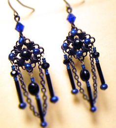 Enchanted blue earrings... Victorian Handmade jewelry