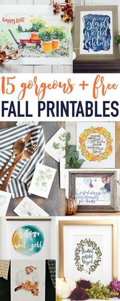 15 Gorgeous Free Fall Printables